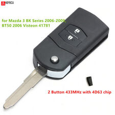 Flip Remote Car Key Fob 2BTN 433MHz 4D63 for Mazda 3 BK Series 2006-2009 41781