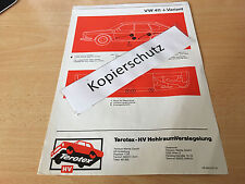 VW 411 und 411 Variant,  Terotex Hohlraumversiegelungsplan