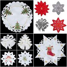 DECKCHEN Tischtuch Weihnachten Weiß Stahl Stern Christbaum 30cm Rund Stickerei