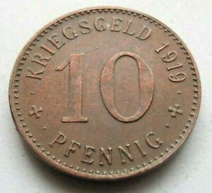(295) NOTGELD COIN   10 PFENNIG  (COPPER)  -  1919  -  CITY OF WATTENSCHEID