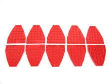 10x LEGO Red Wedge Plate 7 x 6 without Stud Notches Boat Bow Nose #2625