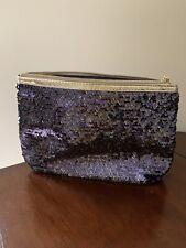 Lancome Cosmetic MAKEUP BAG HandBag Clutch Zip Pouch Purple/Gold Sequins-NEW!
