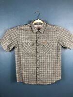 Orvis Mens XL Short Sleeve Button Up Striped Gray Shirt Classic Collection