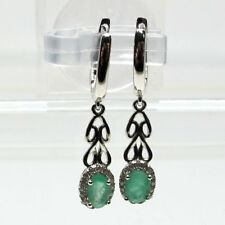UNIQUE 0.5 CT GENUINE AFRICAN EMERALD 925 STERLING SILVER EARRINGS