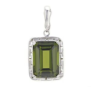14k White Gold 9ctw Emerald Cut Synthetic Peridot Solitaire Greek Pendant