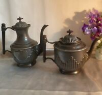 Large Antique Victorian Aesthetic Pewter Tea and Coffee Pot with Unusual Design