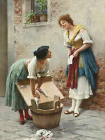 CHENPAT1321 100% hand painted women washing clothes oil painting art on canvas