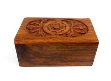 Small Wood Jewelry Box Carved Flower Design Keepsake Trinket Box D