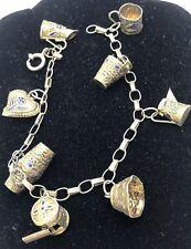 Bracelet 7.5� 9 Grams Whistle Heart Vintage Chinese Export Silver Enameled Charm