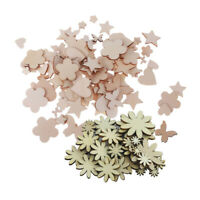 150pcs Unfinished Wooden Shape Cutouts Embellishments for Scrapbooking Craft