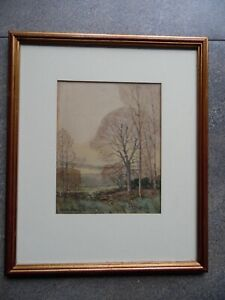 An Autumnal Landscape. Sml WC by W. Browning c1930