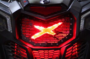 """Custom Steel Aftermarket Grille """"X"""" LED X-LITE fits CanAm Maverick X3 RED Grill"""