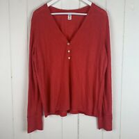 Victoria's Secret Womens Large Henley Top Long Sleeves Coral V Neck Buttons L