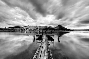 Black and White Pier on Lake Landscape Poster Wall Prints Home Decor Art Picture