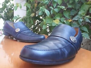 Gucci Mens Navy Blue Leather Loafers Silver Buckles Gorgeous Sz 10.5 E || 212379