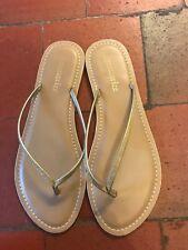 Sparkly Gold Flat Accessorise Faux Leather Flip Flop Sandals, UK size L, 6-8