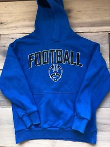 NIKE blue hoodie sweater pullover FOOTBALL big logo Youth Sz 10/12