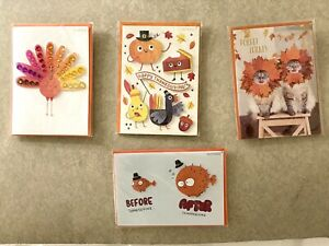 PAPYRUS Greetings Lot of 4 Thanksgiving Cards- Glam Turkey, Overindulgence Day
