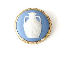 Vintage Wedgwood Jasperware Cameo Pin Set In Gold Plated Mount