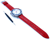 20mm Crocodile Alligator Red Leather Watch Strap for Omega Seamaster Speedmaster