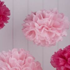 Pom Poms Pink Mix Tissue Paper Baby Shower Party Decorations - pack 5