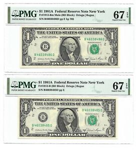 """1981A $1 NEW YORK """"CHANGEOVER"""" FRNs PMG SUPERB GEM UNCIRCULATED 67 EPQ BANKNOTES"""