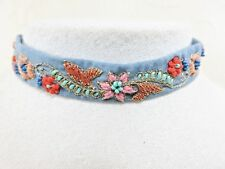"""Artisan Soft Chambray Blue Jean Floral Embrodered & Bead Choker 13-15"""" Necklace"""