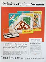 Lot of 3 Swanson Frozen TV Dinner and Pot Pie Vintage Ads