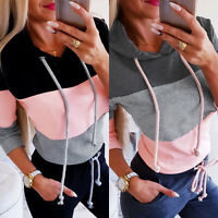 Women Patchwork Long Sleeve Hoodie Sweatshirts Jumper Hooded Pullover Blouse Top