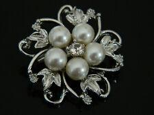 Small Pearls Flower  Wedding Cheap Prom Bride Brooch Pin BR34