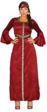 Ladies Red Renaissance Princess Medieval Fancy Dress Costume Outfit 14-18