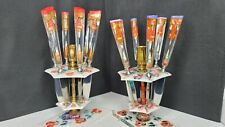 Floral Rose Flatware Candle Stand Butter Knife Holders Pink And Purple Unique