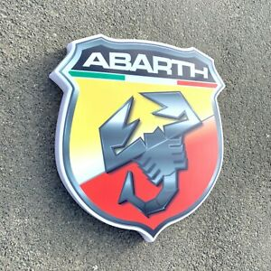 Abarth Badge LED Illuminé Light Boîte Signe Garage Essence Gas & Huile Fiat 500