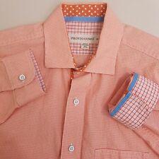 Pronto Uomo Button Up Shirt Men's Medium Orange Plaid Checks