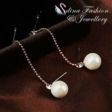18K Rose Gold Plated Simulated Pearl & Diamond Stylish Two Pin Stud Earrings