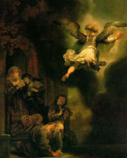 Oil painting Rembrandt - The Archangel Leaving the Family of Tobias canvas
