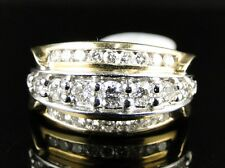 14K Ladies Yellow Gold 3 Row Round Diamond Channel Wedding Band Ring 1 Ct