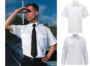 MENS PILOT UNIFORM SHIRT SHORT LONG SLEEVE WHITE & NAVY BLUE SECURITY EPAULETTES