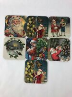 Christmas The Yesterboard Home Collection 7 Piece Santa Coasters Vintage Holiday