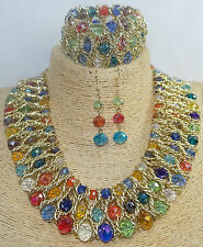 Beautiful Multi Colour Bib Choker Glass Beaded Necklace, Bracelet, Earring