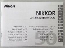 Nikon Nikkor AF-S 50mm f/1.4G User's Manual