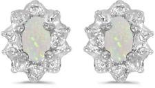 10k White Gold Oval Opal And Diamond Earrings