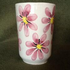 """Shabby Chic Porcelain Pottery Vase Holder Floral GlassTan PINK 6"""" Tall Vintage"""