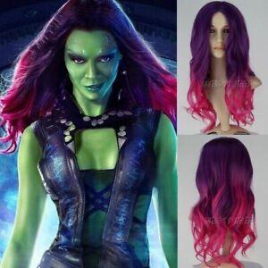 UK Guardians of the Galaxy 2 Gamora Long Wavy Movie Anime Cosplay Halloween Wig
