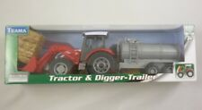 Red Tractor and Digger with Barrel Trailer Set 1:32 Scale (BT36)