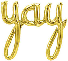 "Giant 33"" ""YAY"" Gold Script Foil Balloon 33 inch Foil Balloon"