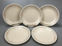 """Set of 5 Corelle Corning ROSE Beige Gray Striped 8.5"""" Lunch Salad Plates AA"""