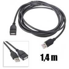 Cable USB 1,4 m macho hembra 2.0 tipo A alargador prolongador conector negro