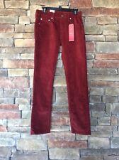 Levi Strauss 511 Men's Slim Corduroy Jeans Brick Red NWT $69.50 Size 30 x 32