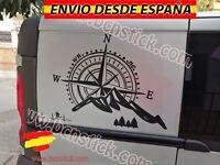 Vinilo Rosa De Vientos Paisaje Montañas Pegatina Decal Sticker Coche Furgo 60x70